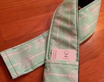 Mint Arrow Print Camera Strap Cover with Lens Cap Pocket