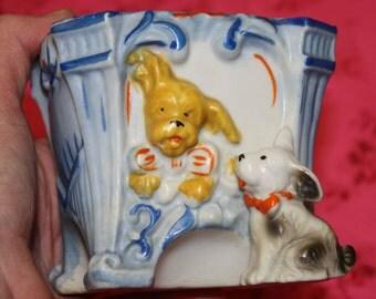 1930s DOGS Handpainted Porcelain Ceramic Planter Japan Makers Mark