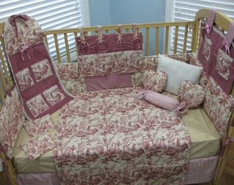 French Toile 14 Piece Baby Bedding Crib Set