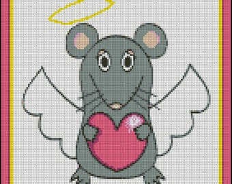Mousey Love - Counted Needle Point, Cross Stitch and Cross Stitch Hand Paint Chart Patterns