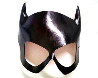 Black Leather Babbs Batgirl Cosplay Mask