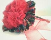 Shabby Chic Tartan Christmas Holiday fascinator and headband