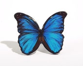 Oversize Butterfly Ring, Adjustable Size Blue Morpho Realistic Ring Made From Polymer Clay and Resin