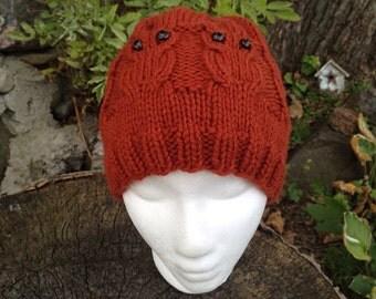 Rusty Barred Owl Hat - Adult Size, Hand Knit - Cinnamon/Rust/Burnt Orange Color