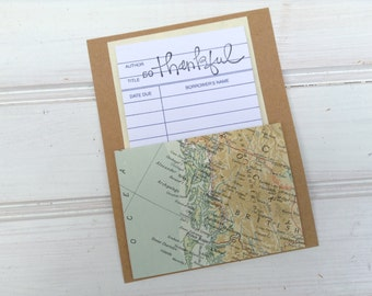 Library Cards Vintage Maps Thank You Notes Blank Cards / Set of 8 / Library Pockets / Teacher Gift / Stationary / Blank Cards