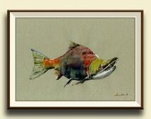 PRINT-Salmon Sockeye red - fish watercolor painting print - game fishing decor- fish wall nursery-sport fishing - Art Print by Juan Bosco