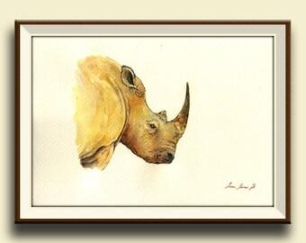 PRINT-White Rhino Rinoceros  head african portrait art watercolor painting  -Art Print by Juan Bosco