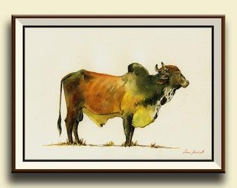 PRINT-Zebu boran cattle bull  Cow painting print, farm nursery  - Art Print by Juan Bosco