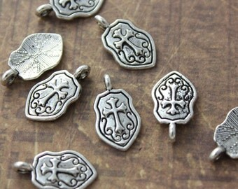 15 Tiny Shield Charms Shield Pendants Antiqued Silver Tone 15 x 9 mm