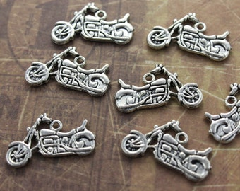 10 Motorcycle Charms Motorcycle Pendants Antiqued Tibetan Silver Double Sided  24 x 15 mm