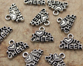 10 I Love to Cheer Charms I Love to Cheer Pendants Antiqued Silver Tone 14 x 7 mm
