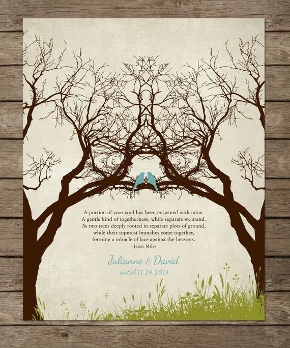 Personalized wedding gift family tree art newly weds gift for Family tree gifts personalized