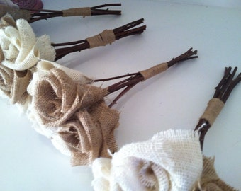 Burlap Bouquet  / Qty 4 Wedding bouquets  Forever flower