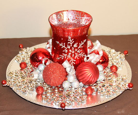 Christmas Candle Centerpiece Red And Silver Snowflake