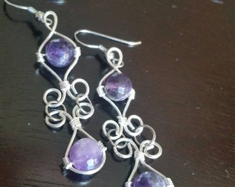 Faceted Amethyst Wire Wrapped Earrings - hypoallergenic