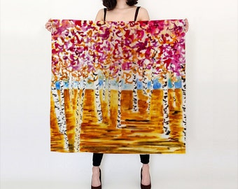 Colorful Forest Luxurious Silk Scarf, large and versatile, printed with original art