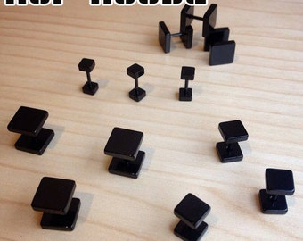 Surgical Stainless Steel Fake Plugs (Square Design)