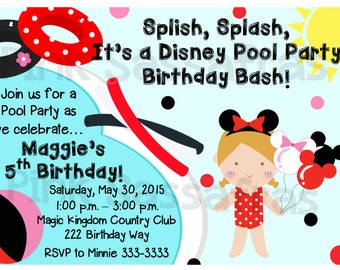 Minnie Mouse Pool Party Birthday Invitation
