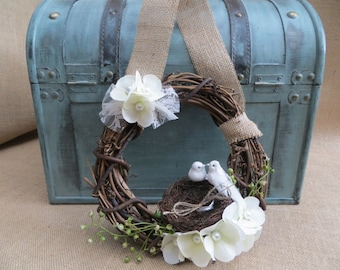 Ring Bearer Wreath, Ring Bearer Nest, Ring Bearer Pillow,  Rustic Ring Pillow, Rustic Ring Nest, Wedding Wreath, Love Bird Ring Nest