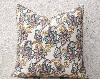 Pillow Covers - Paisley Pattern Hand Printed on a Very Pale Pink Fabric- 16 x 16 - 2 pieces - ct106A
