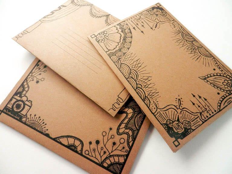 Printable DIY Envelope Templates Set of Three: Henna Frame