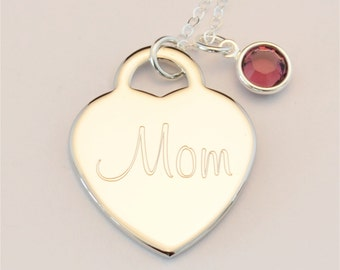 Custom Engraved Heart Birthstone Name Charm Necklace INCLUDING Birthstone, Personalized Jewelry