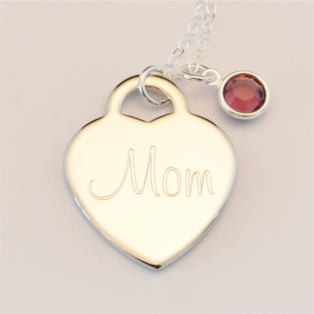 Free shipping custom engraved heart birthstone name charm for New mom jewelry tiffany