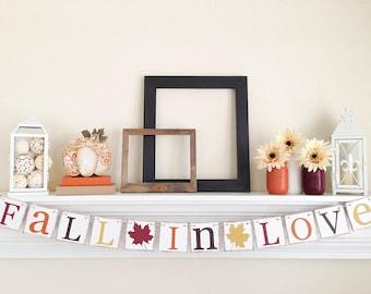Fall In Love Banner, Fall Bridal Shower, Fall Wedding Decoration, Fall Decor, Autumn Wedding Garland, Fall Wedding, Fall In Love Sign