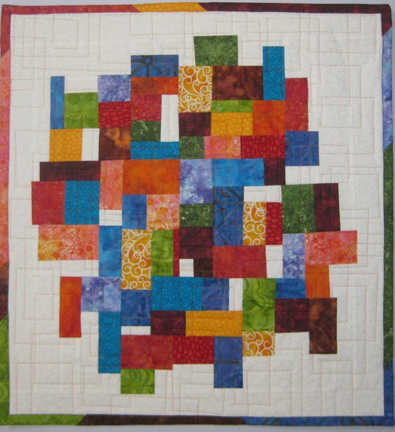 Art Quilt Mosaic with White, Quilted Wall Hanging