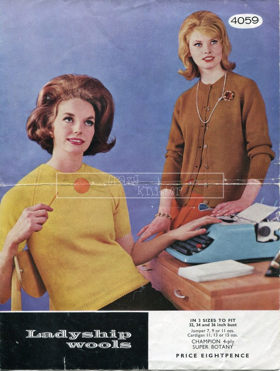 Lady's Twin Set 4-ply 32-36in Ladyship Wools 4059 Vintage Knitting Pattern PDF instant download