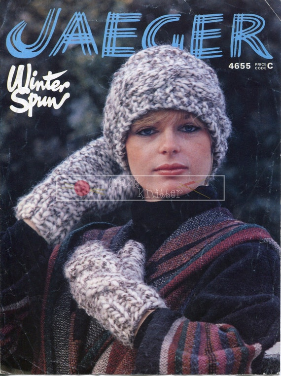 Lady's Hat and Mitts Super Chunky Jaeger 4655 Vintage Knitting Pattern PDF instant download