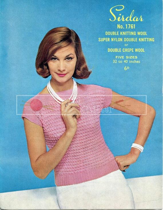 "Lady's Sleeveless Jumper DK 32-40"" Sirdar 1761 Vintage Knitting Pattern PDF instant download"