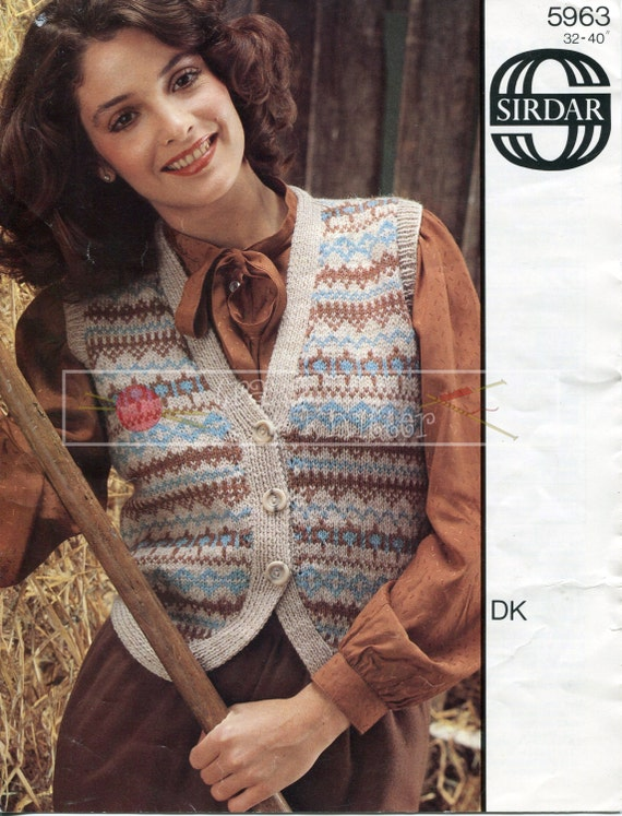 Lady's Fairisle Waistcoat DK 32-40ins Sirdar 5963 Vintage Knitting Pattern PDF instant download