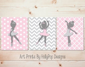 Pink Gray Ballerina Nursery Art Baby Girl Nursery Toddler Girls Room Wall Art Nursery Art Prints Nursery Trio Decor Set of 3 Prints #1014