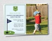 Custom Preppy Golf Photo Birthday Invitation - Golf Themed Party - Boy Birthday - Digital Design or Printed Invitations - FREE SHIPPING