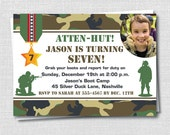 Classic Camo or Army Photo Birthday Invitation - Army Birthday Party - Boy Birthday - Digital Design or Printed Invitations - FREE SHIPPING