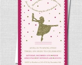 Pink and Gold Nutcracker Ballet Birthday Party Invitation - Holiday Girl Birthday - Digital Design or Printed Invitations - FREE SHIPPING