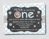 Boy Winter Onederland Birthday Photo Invitation - Winter First Birthday Party - Digital Design or Printed Invitations - FREE SHIPPING