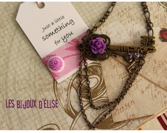 Sale - Skeleton Key charm necklace with Purple Flower Cabochon Vintage Style