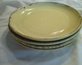 Set of 4 Bright Yellow 8 inch Handmade Luncheon or Serving Plates Ceramic/Pottery