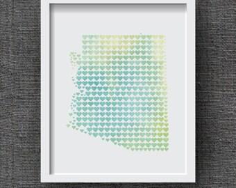 Arizona Watercolor Art Print, State Heart Print - Watercolor State Art, Arizona Hearts - Arizona Love, Arizona Wedding Gift