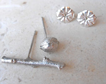 Twig botanical stud earrings, sterling silver studs  - Galilee lavender and pod earrings, made to order