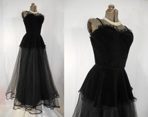 Vintage 1950s Prom Dress -  50s Inky Black Formal Velvet Corset and Tulle Ball Gown