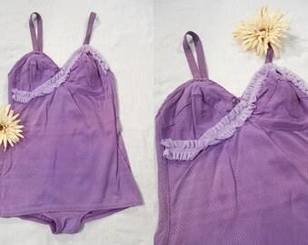 Vintage 1940s Swimsuit - 40s XL Purple Bathing Suit