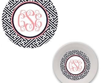 Melamine Plate and Bowl Set - greek monogram custom melamine dish set