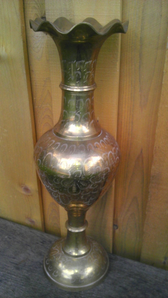 Reserved for Texas  Vintage Brass Vase Urn Large Exquisite Tall Floor Standing Beautiful Antique Ornate Etching Fluted
