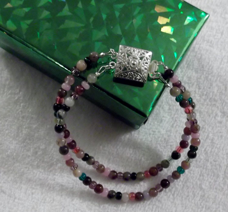 watermelon tourmaline gemstones 2 strand by