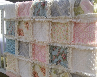 Crib Rag Quilt, Pink Blue Gray Baby Girl Baby Quilt Minky Roses Crib Bedding