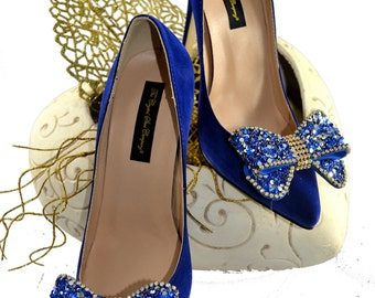 Swarovski crystal My something Blue Cobalt Navy Suede bridal Wedding Bow Court High heel shoe pump