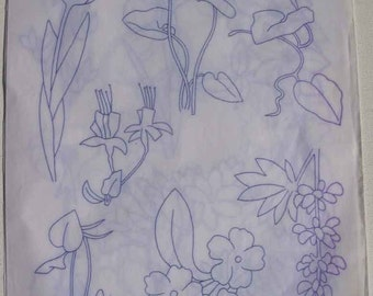 Needlecraft designs! Vintage embroidery flower transfer, 3 page spread, unused, Family Circle gift, 1985